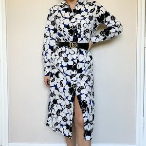 Who What Wear Midi Floral Long Sleeve Dress Small